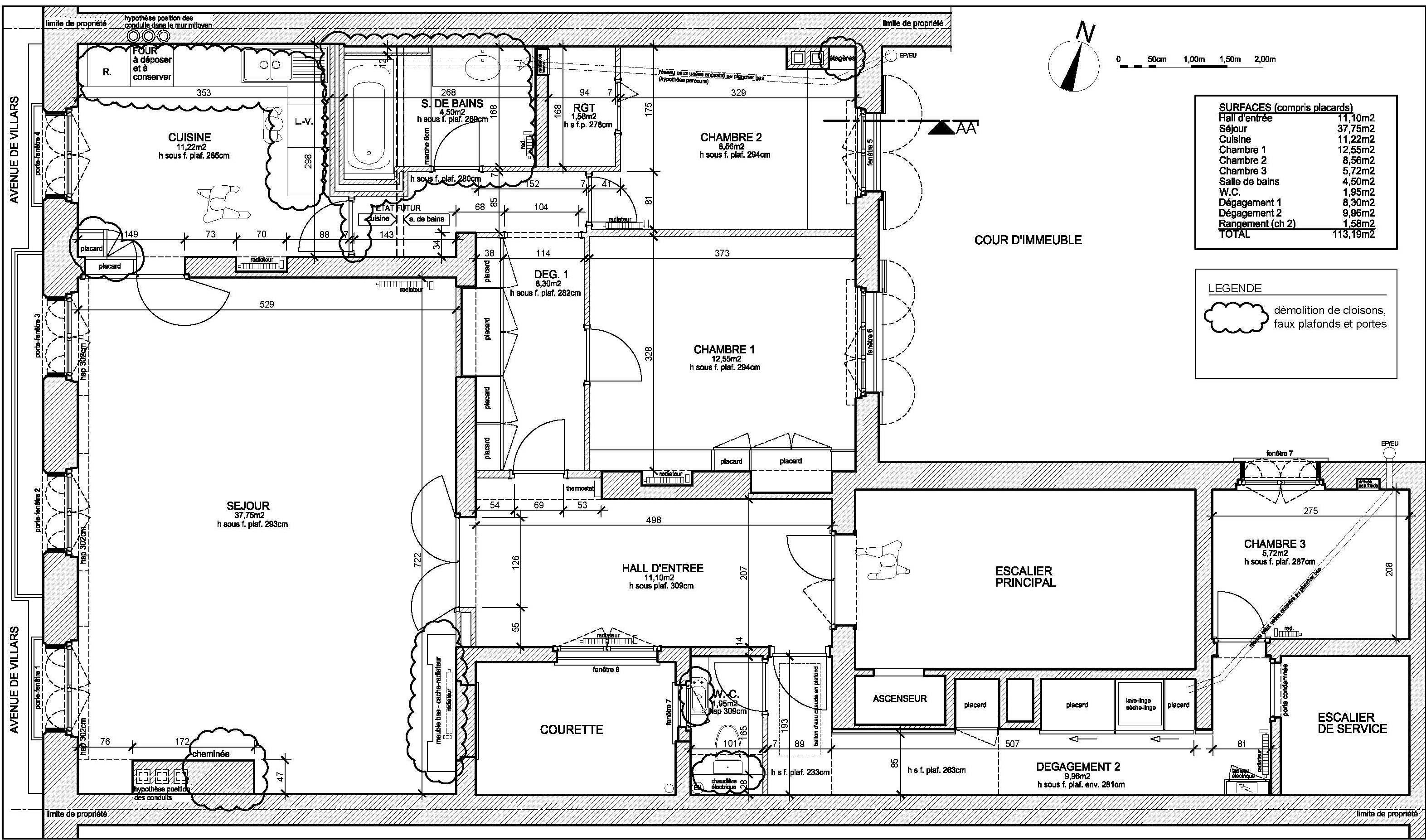 R novation d un appartement haussmannien paris 7 me - Plan appartement haussmannien ...